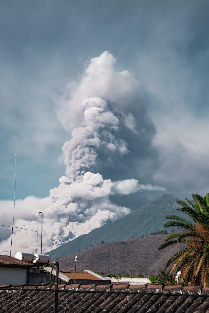 Volcano eruption from volcano Fuego in Antigua Guatemala