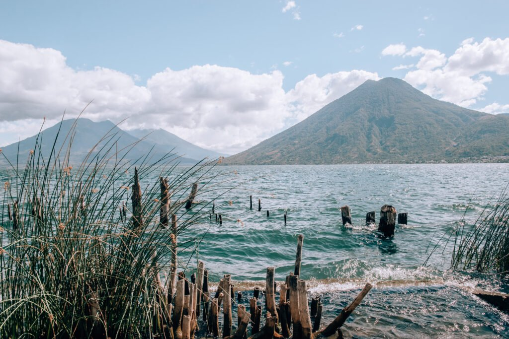 A view of Lake Atitlan and its many volcanoes