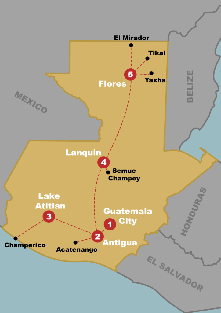 Map of guatemala with the must see locations