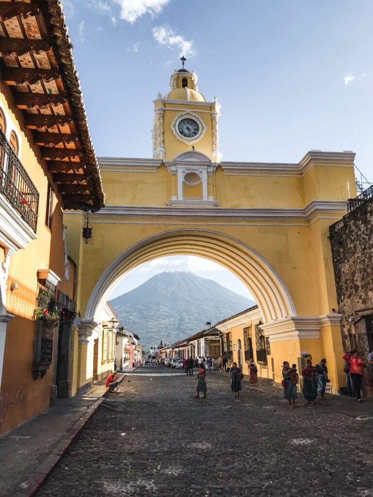 Arco de Santa Catalina surrounding the local volcano in Antigua Guatemala