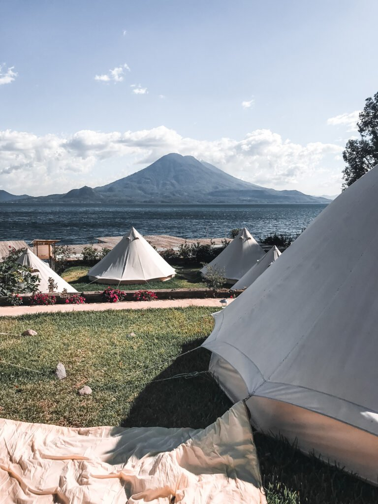 Teepee view of the surrounding volcanoes of Lake Atitlan Guatemala from the hostel Free Cerveza