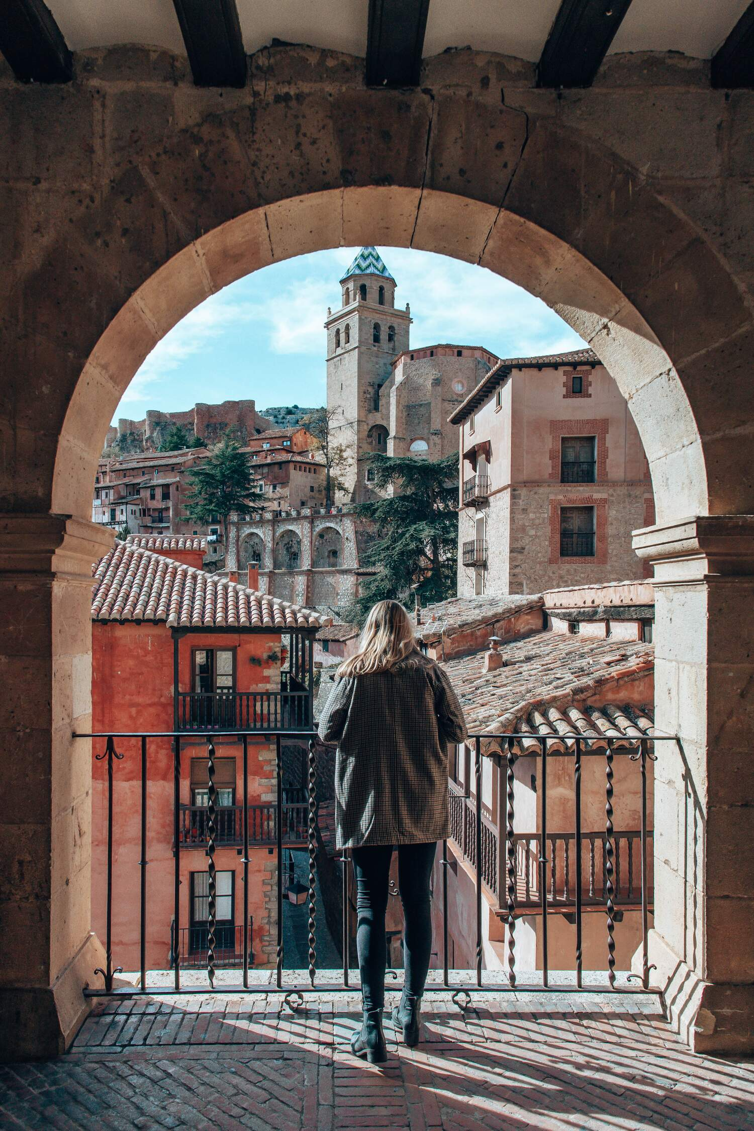Looking up at the Cathedral of Albarraciin from the Plaza Major in Albarracin in Spain.