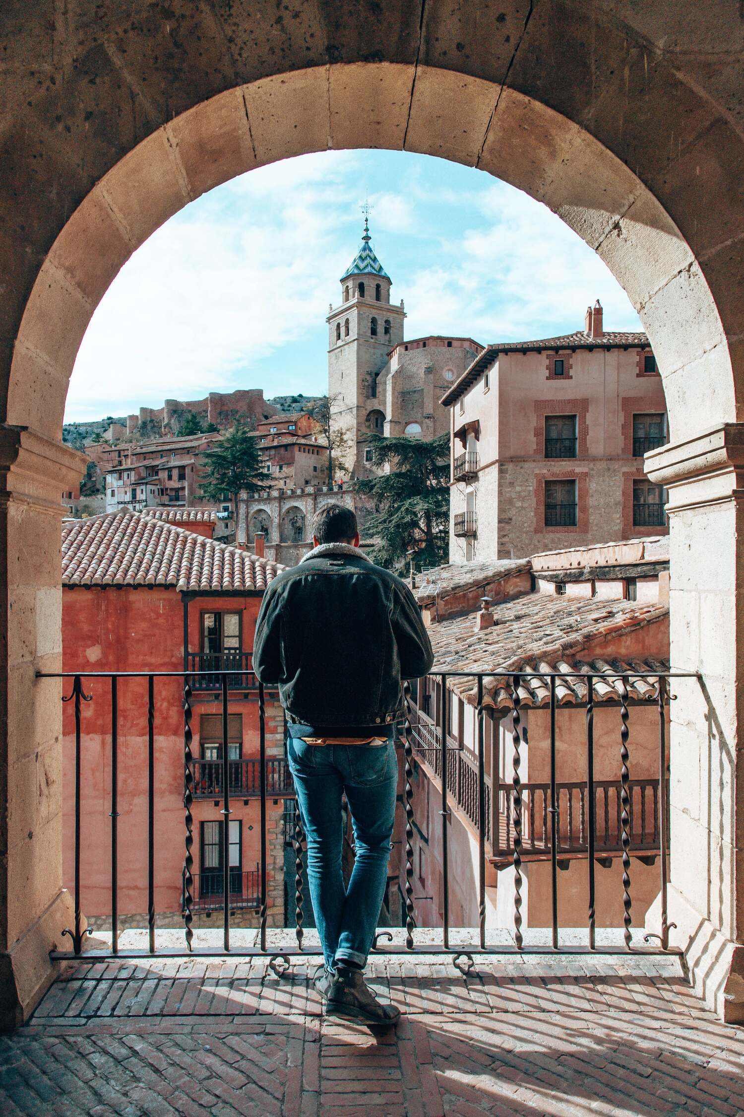 Looking up at the Catedral de Albarracín from the Plaza Major in Albarracin in Spain.