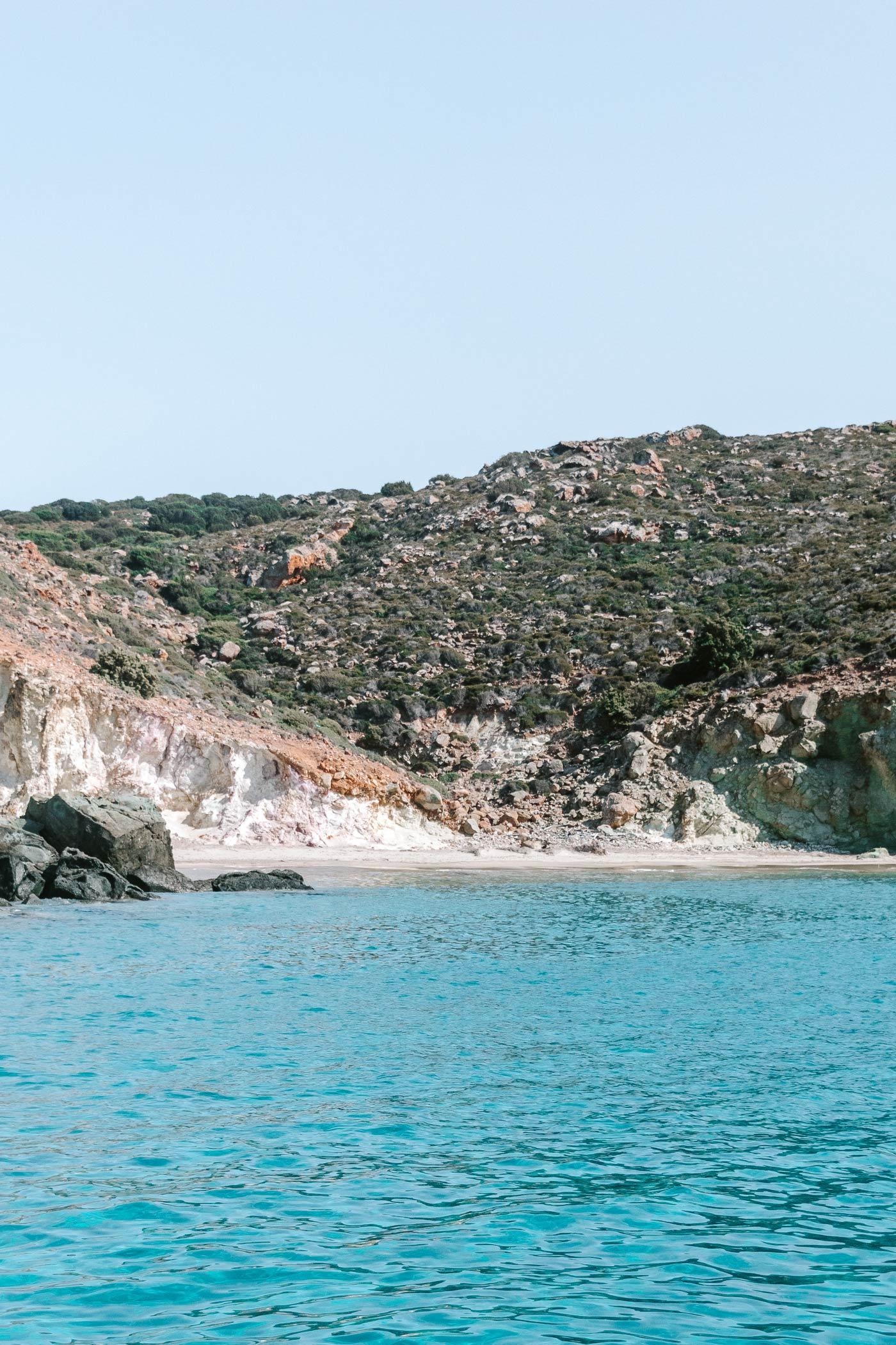 The view over one of the Greek Island Milos best beaches Ammoudaraki Beach