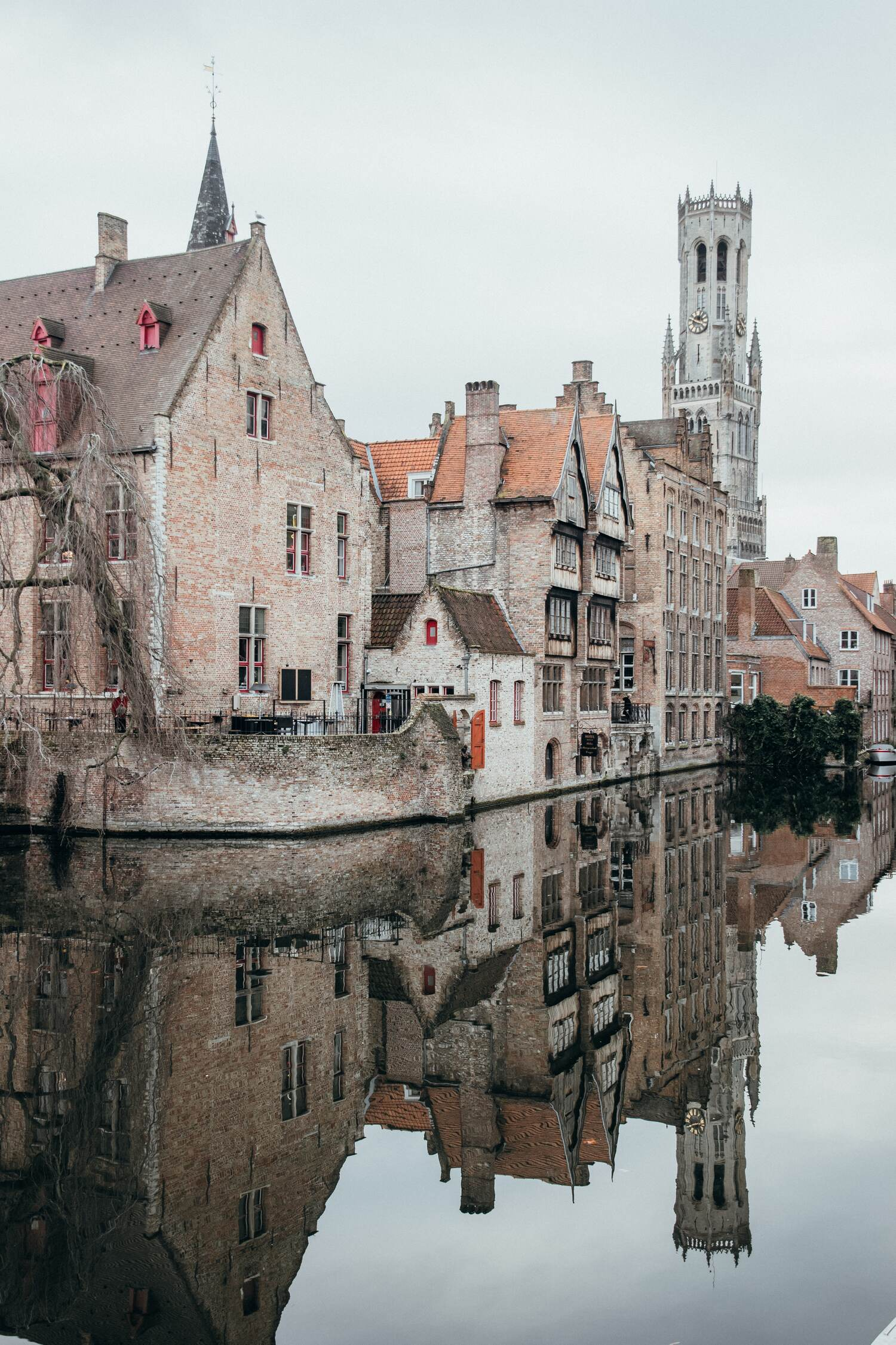 The Rozenhoedkaai which features the hotel from In Bruges
