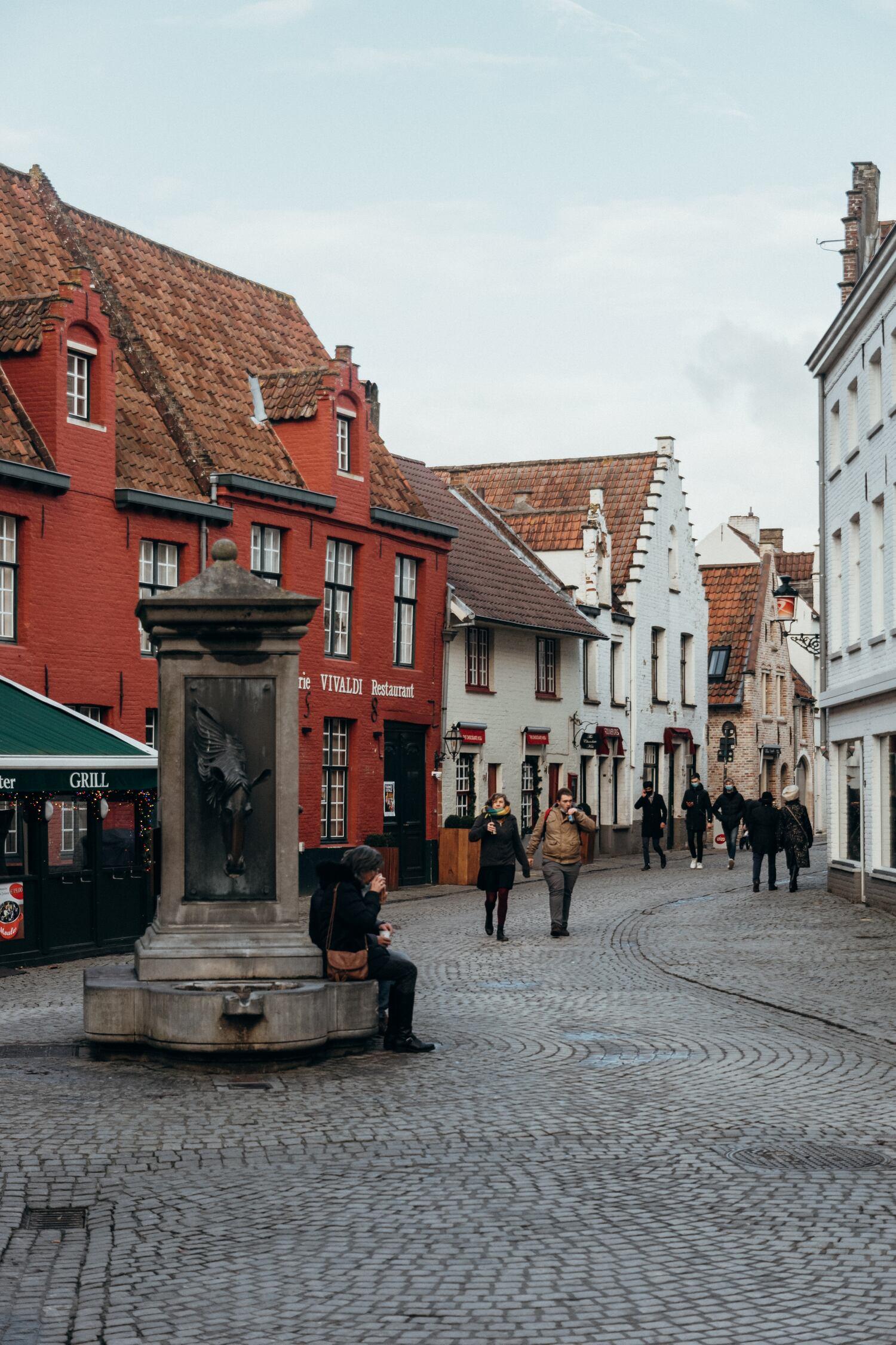 The Wijngaardplein where the horses would drink in Bruges Belgium
