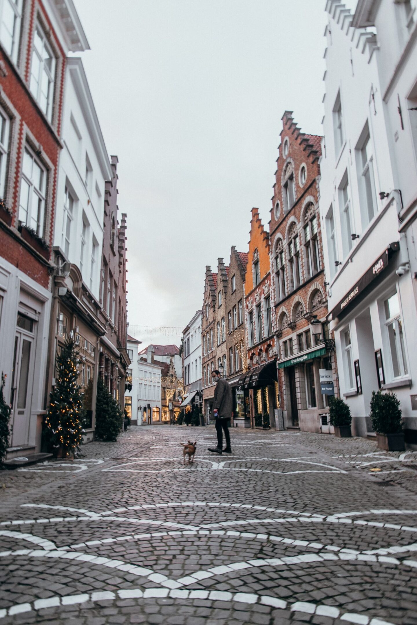 Walking the bruges street on route to the main square and bruges center