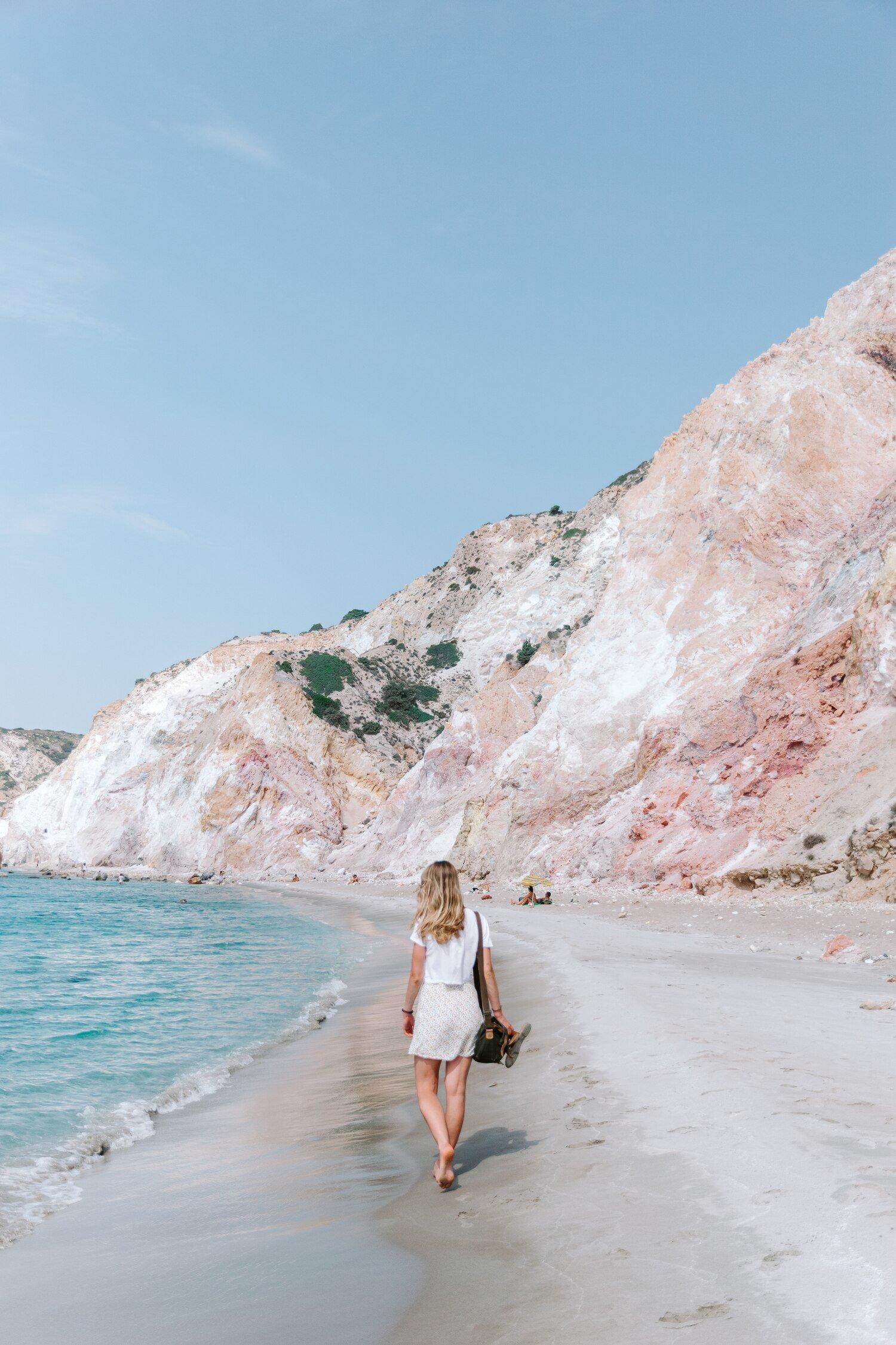 One of the Greek Island Milos best beaches Fyriplaka Beach or Firiplaka Beach