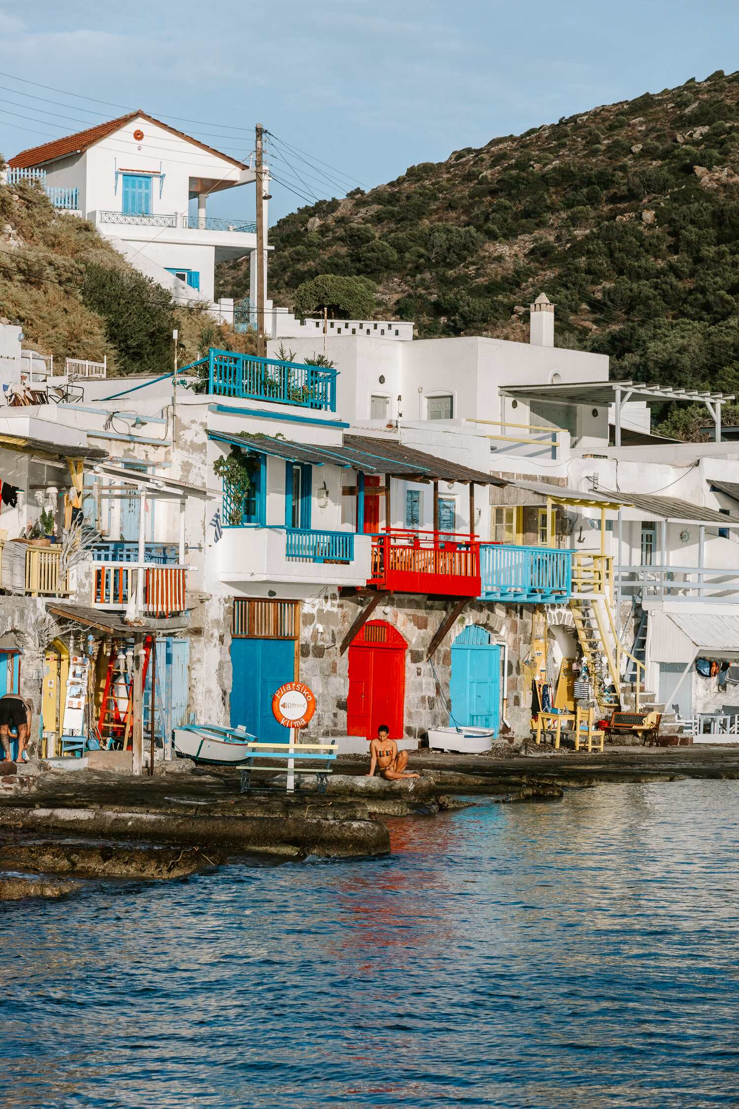 A sunset view over the beautiful fishing village of Klima on the Greek island of Milos