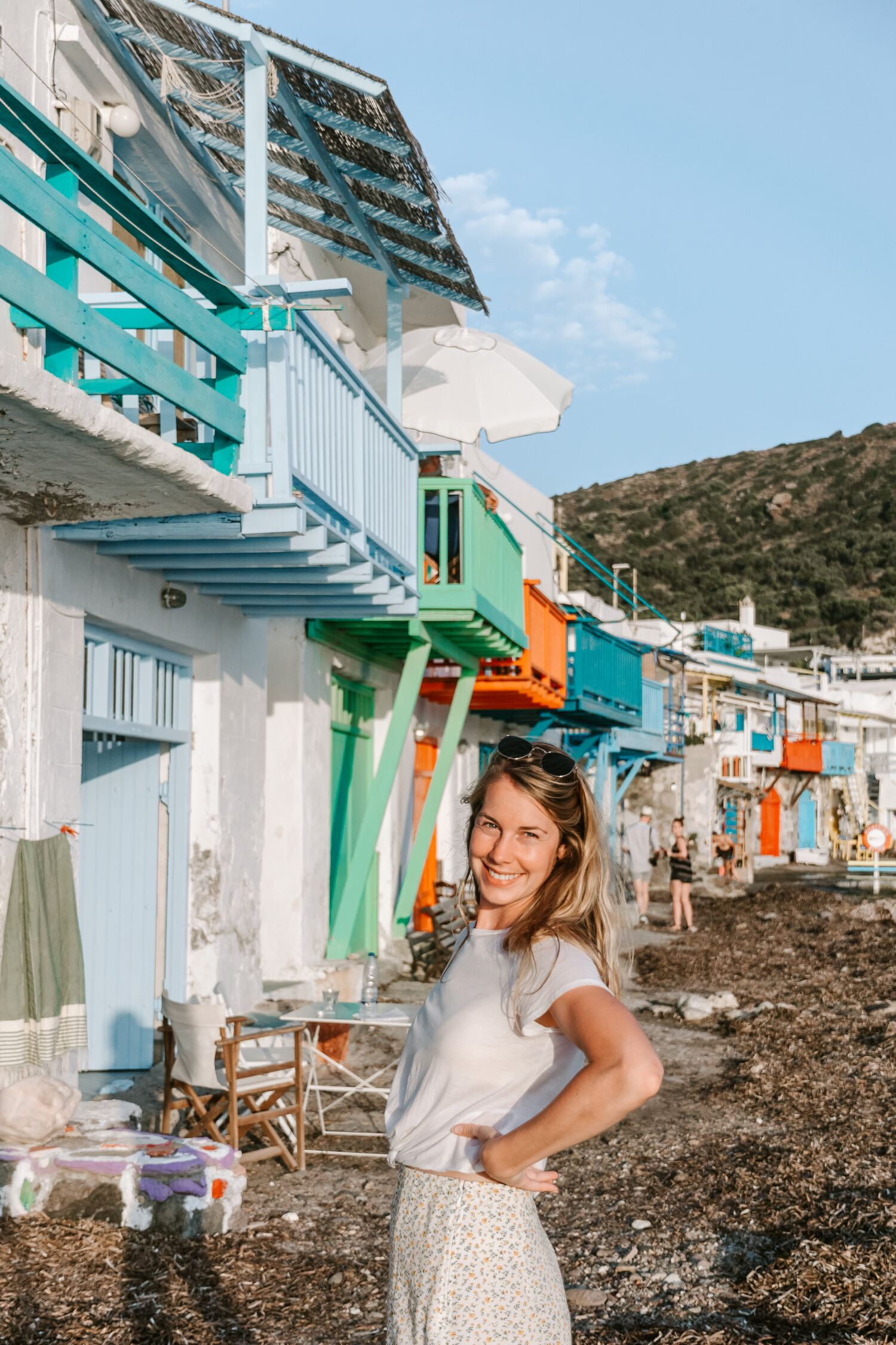 A sunset view over the beautiful fishing huts of Klima on the Greek island of Milos