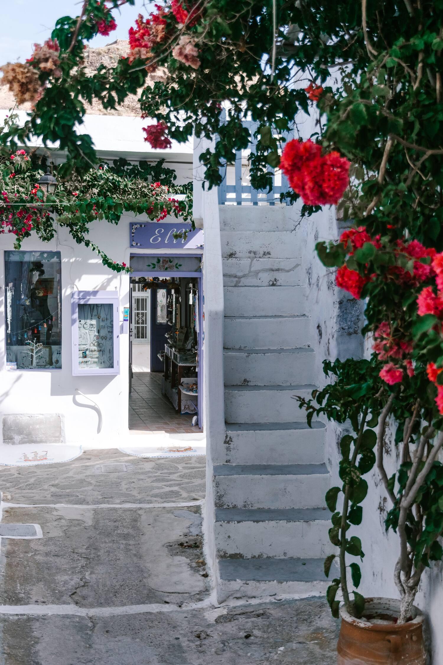 Enjoying the colourful back streets of Plaka on the incredible greek island Milos
