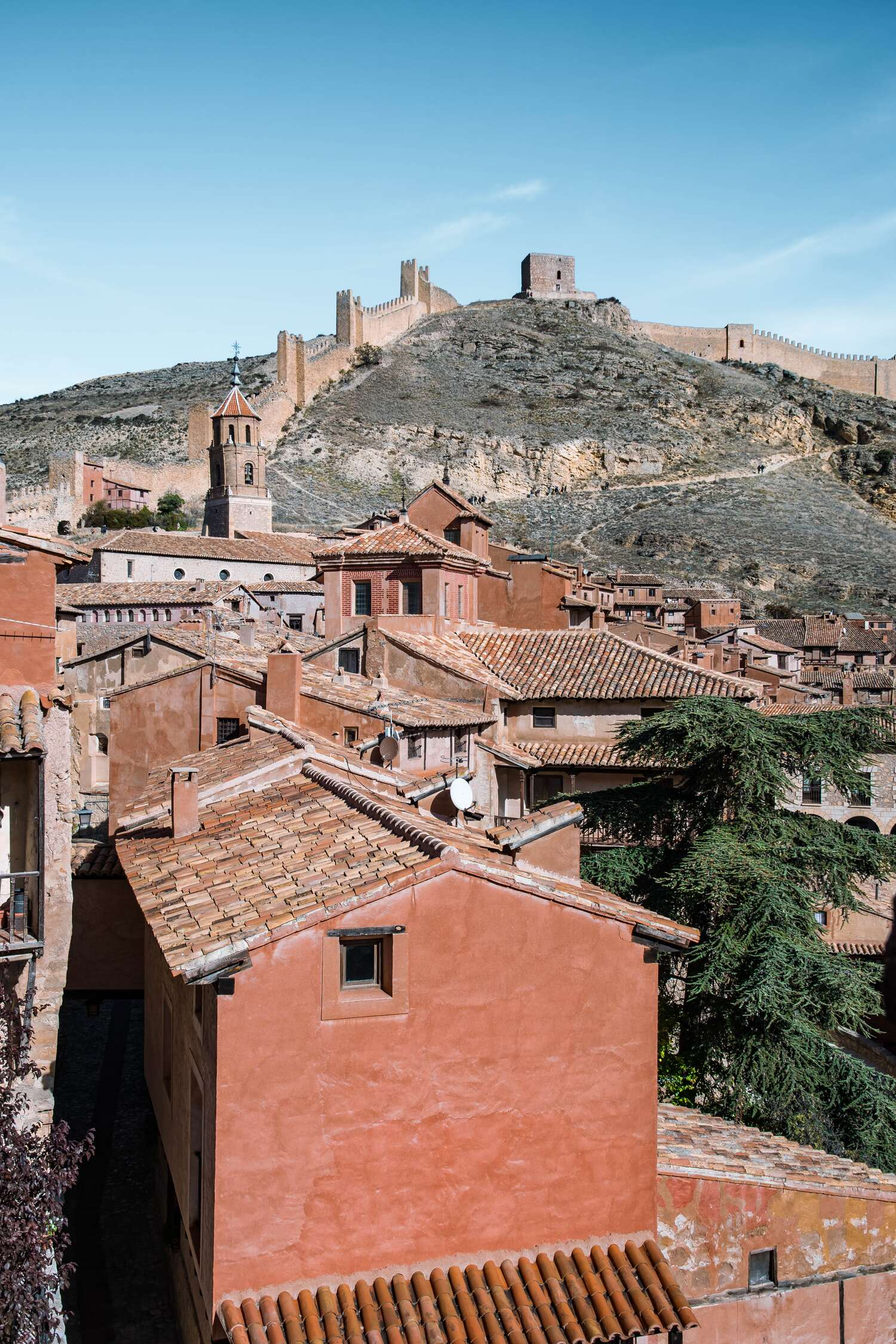 The view from the Catedral de Albarracín up to the city Wall in Albarracin in Spain.