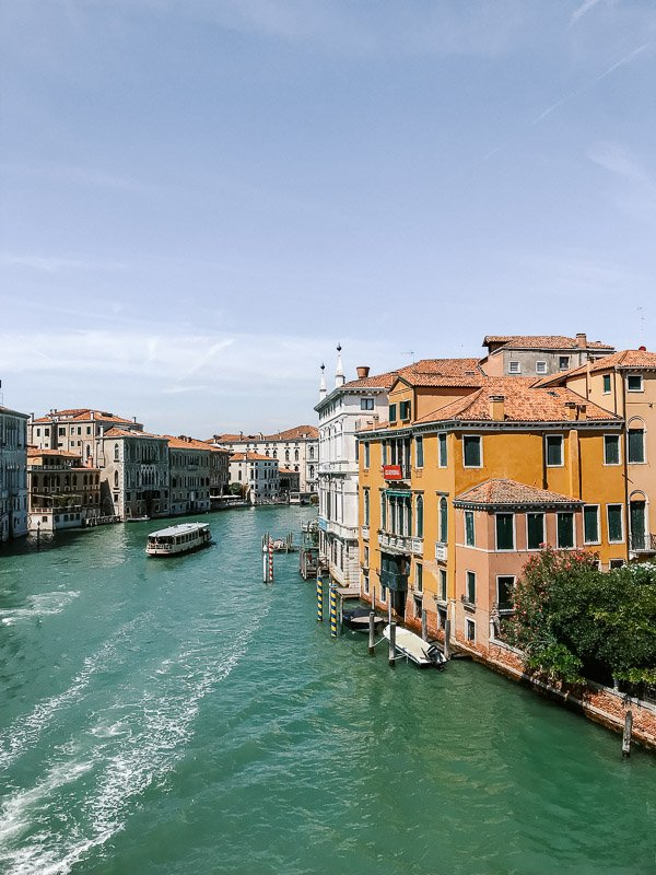 A view along the Canale Grande showing off the magnificent architecture and passing boats