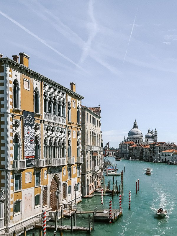 A view along the Canale Grande towards the sea showing off the magnificent architecture and passing boats