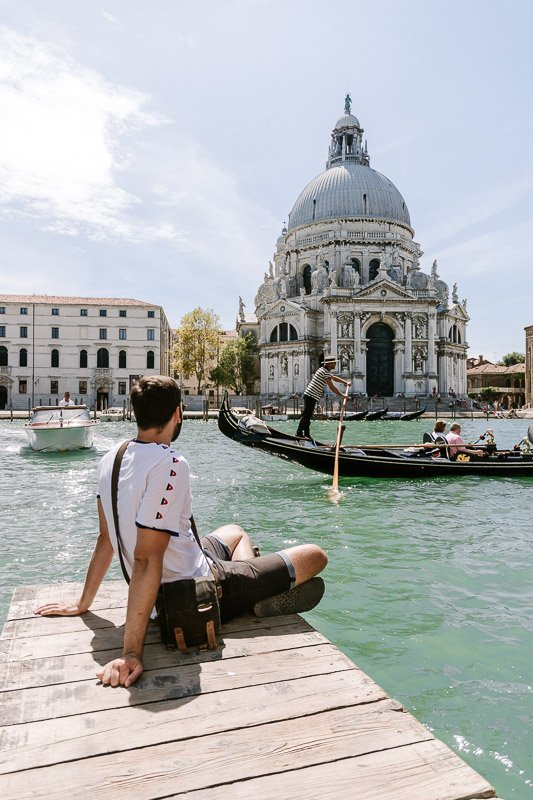 Sitting on the Canale Grande looking at the Santa Maria della Salute