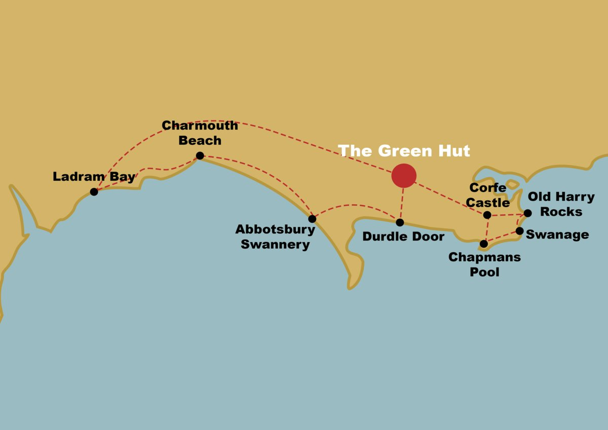 A map of the best places to visit on jurassic coast
