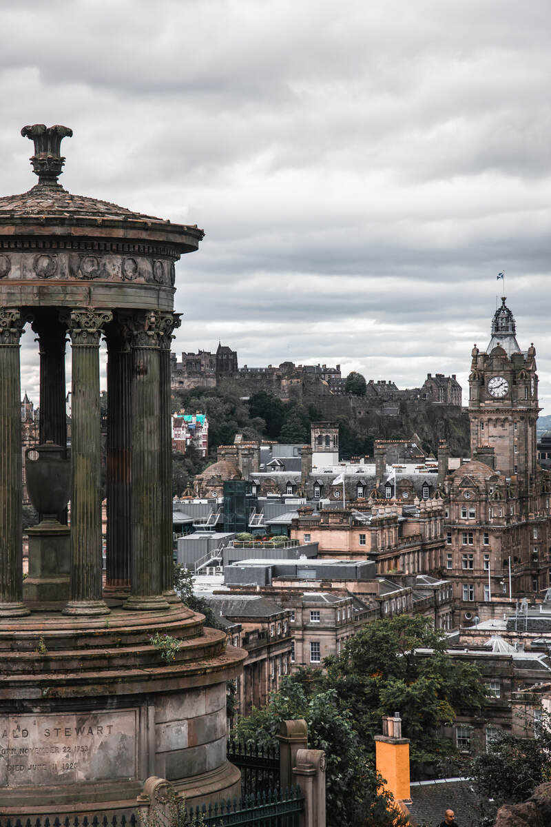 The view over Edinburgh from Calton Hill one of the lookouts in Edinburgh