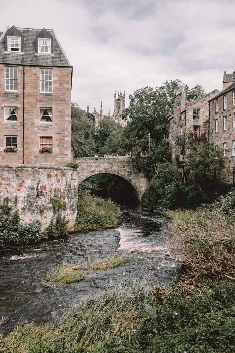 A bridge in Deans Village during what to visit in edinburgh