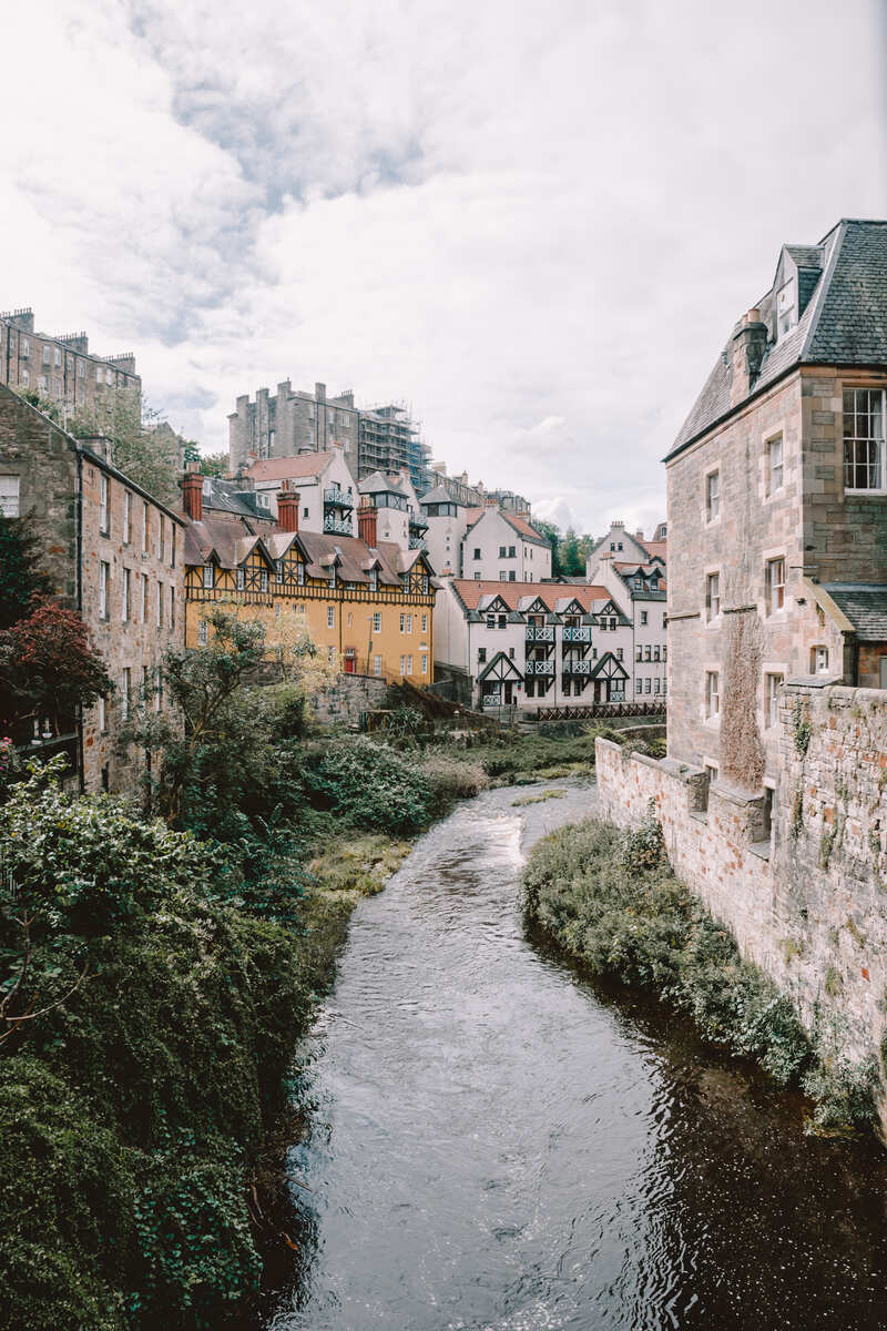 A view of Deans Village during what to visit in edinburgh
